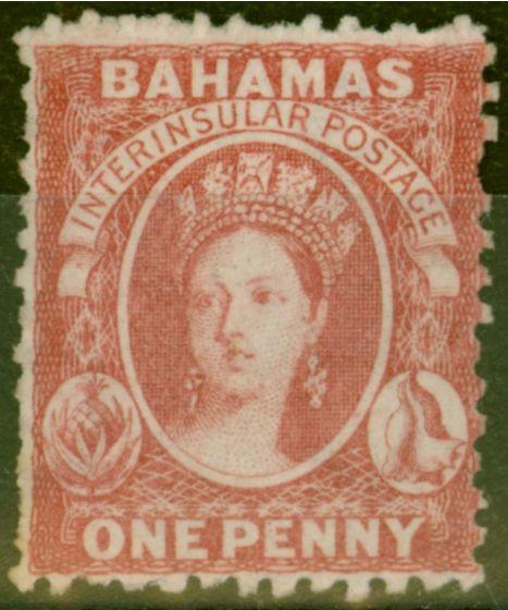 Old Postage Stamp from Bahamas 1863 1d Carmine-Lake SG21x Wmk Reversed Fine & Fresh Unused