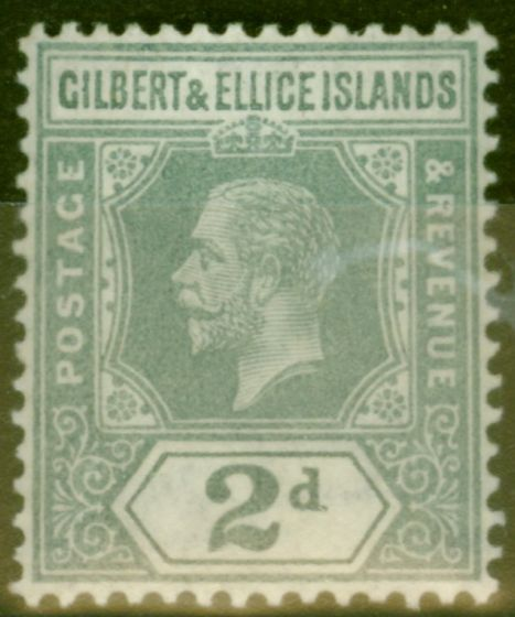 Old Postage Stamp from Gilbert & Ellice Is 1916 2d Greyish Slate SG14 V.F Very Lightly Mtd Mint