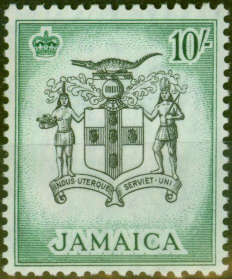 Valuable Postage Stamp from Jamaica 1956 10s Black & Blue-Green SG173 V.F MNH