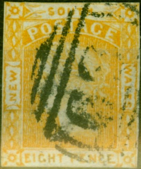 Valuable Postage Stamp from N.S.W 1853 8d Orange-Yellow SG80c No Lines in Spandrels Fine Used Scarce