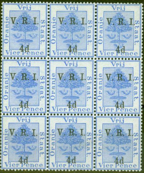 Rare Postage Stamp from Orange Free State 1900 4d on 4d Ultramarine SG107 V.F MNH Block of 9