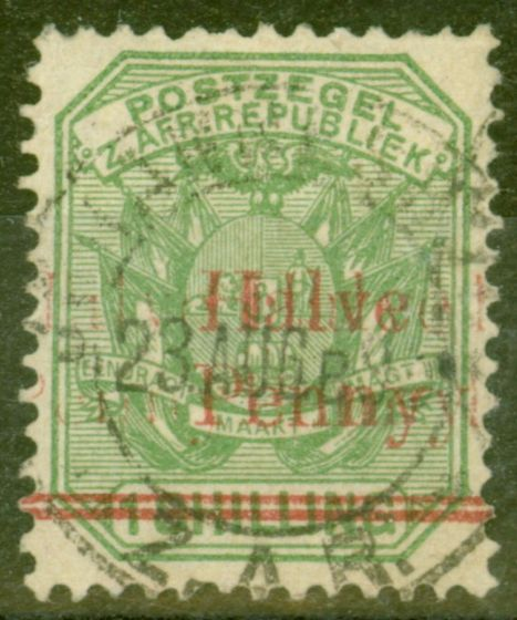 Valuable Postage Stamp from Transvaal 1895 1/2d on 1s Green SG213var Surcharge Triple Fine Used Scarce