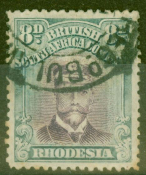 Old Postage Stamp from Rhodesia 1919 8d Mauve & Dull Blue-Green SG268 Die III P.14 Good Used