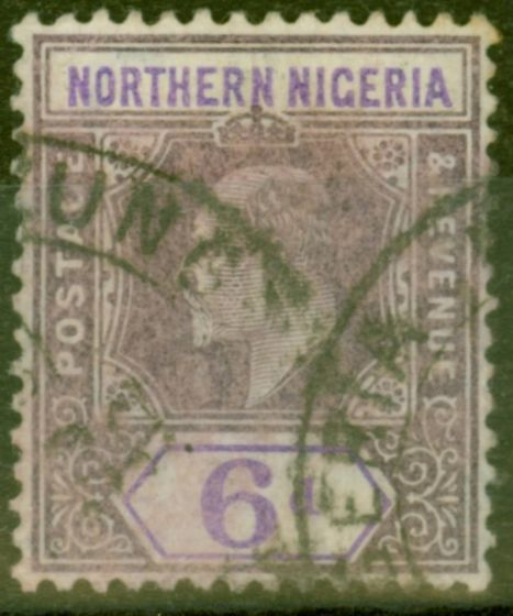 Collectible Postage Stamp from Northen Nigeria 1906 6d Dull Purple & Violet SG25a Chalk Paper Good Used