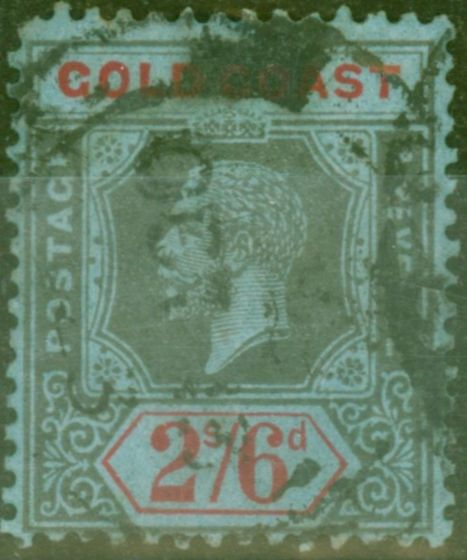Old Postage Stamp from Gold Coast 1921 2s6d Black & Red-Blue SG81a Die II Good Used