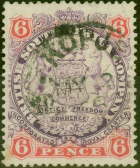 Old Postage Stamp from Rhodesia 1896 6d Mauve & Pink SG33 Fine Used
