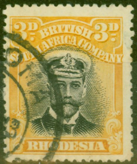 Collectible Postage Stamp from Rhodesia 1913 3d Black & Yellow SG210 Die I Fine Used