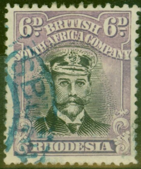 Old Postage Stamp from Rhodesia 1919 6d Black & Reddish Mauve SG265 Fine Used Blue Cancel