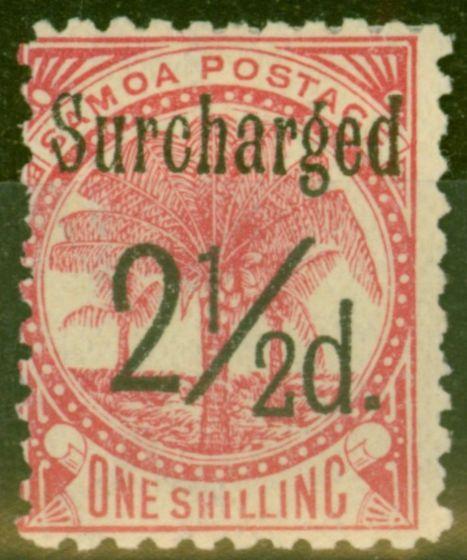 Valuable Postage Stamp from Samoa 1898 2 1/2d on 1s Dull Rose-Carmine SG86 Fine Mtd Mint (7)