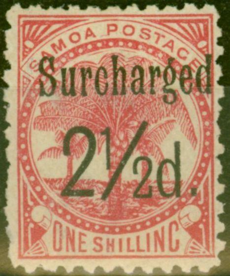 Old Postage Stamp from Samoa 1898 2 1/2d on 1s Dull Rose-Carmine SG86 Fine Mtd Mint (9)