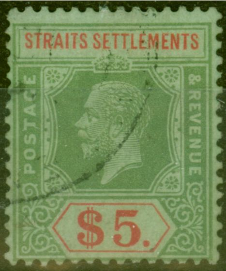 Old Postage Stamp from Straits Settlements 1923 $5 on Emerald Back Die II SG212d Fine Used