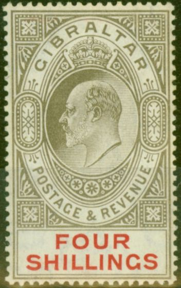 Valuable Postage Stamp from Gibraltar 1910 4s Black & Carmine SG73 Fine Very Lightly Mtd Mint
