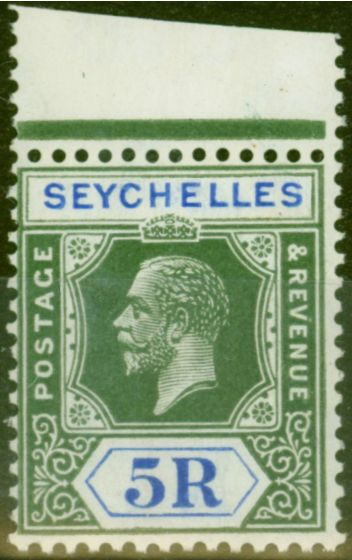 Collectible Postage Stamp from Seychelles 1921 5R Yellow-Green & Blue SG123 V.F MNH