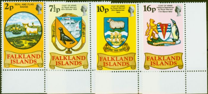Collectible Postage Stamp from Falkland Islands 1975 Heraldic set of 4 SG311-314 Very Fine MNH