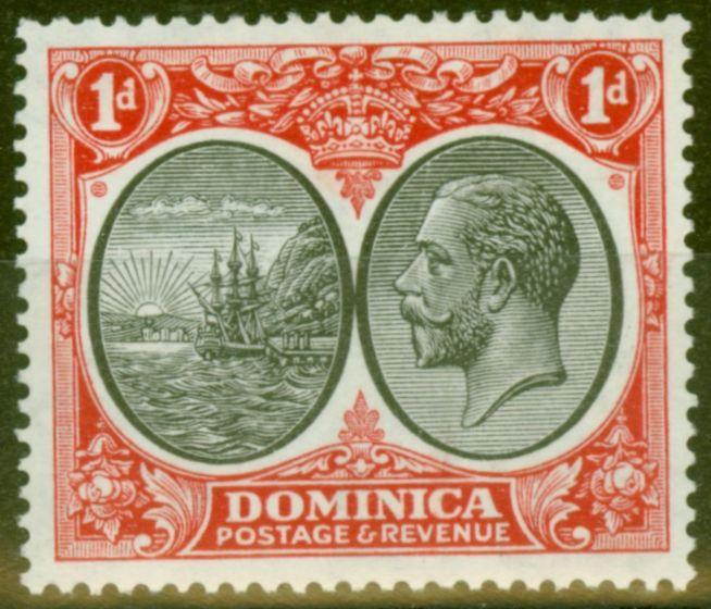 Old Postage Stamp from Dominica 1933 1d Black & Scarlet SG73 V.F Very Lightly Mtd Mint