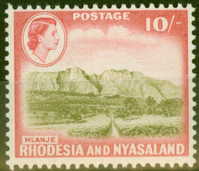 Valuable Postage Stamp from Rhodesia & Nyasaland 1959 10s Olive-Brown & Rose-Red SG30 V.F Very Lightly Mtd
