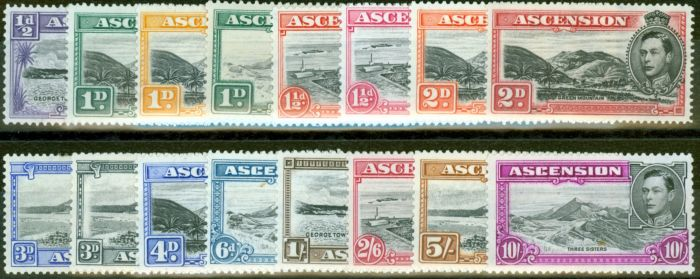 Rare Postage Stamp from Ascension 1938-49 set of 16 SG38b-47b Fine Lightly Mounted Mint