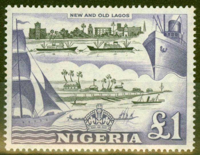 Valuable Postage Stamp from Nigeria 1953 £1 Black & Violet SG80 V.F Very Lightly Mtd Mint