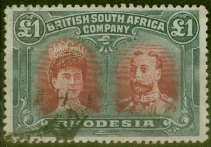 Valuable Postage Stamp from Rhodesia 1910 £1 Crimson & Slate-Black SG166a Fine Used Example