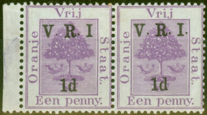 Valuable Postage Stamp from O.F.S 1900 1d on 1d Purple SG113e No Stop after I in Fine Mtd Mint Pair with Normal