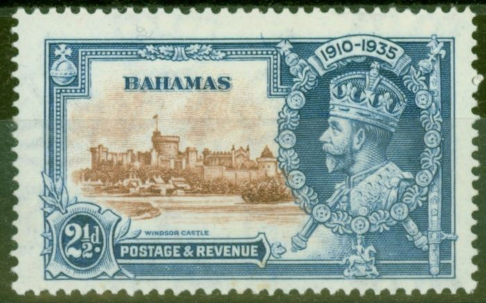 Valuable Postage Stamp from Bahamas 1935 2 1/2d Brown & Dp Blue SG142f Diag Line by Turret Fine Lightly Mtd