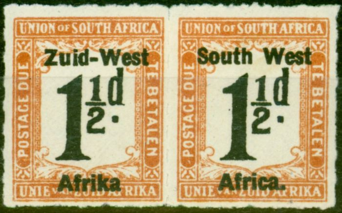 S.W.A 1923 1 1/2d Black & Yellow-Brown SGD8B No Stop After Afrika Fine Mtd Mint