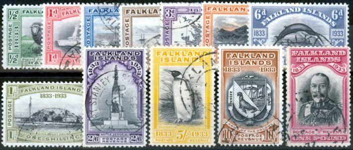 Old Postage Stamp from Falklands Islands 1933 Centenary set of 12 SG127-133 Superb Used