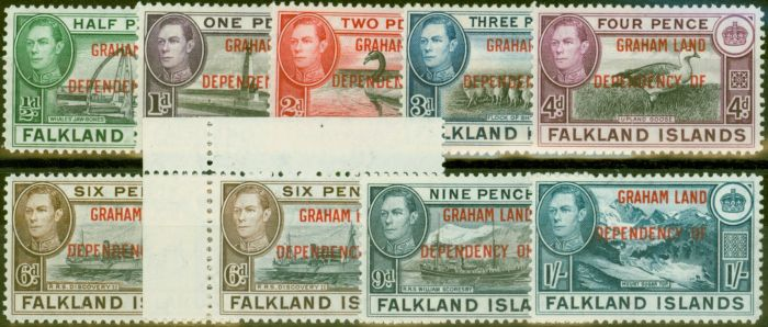 Valuable Postage Stamp from Graham Land 1944-45 set of 9 SGA1-A8 Both 6d`s V.F Very Lightly Mtd Mint