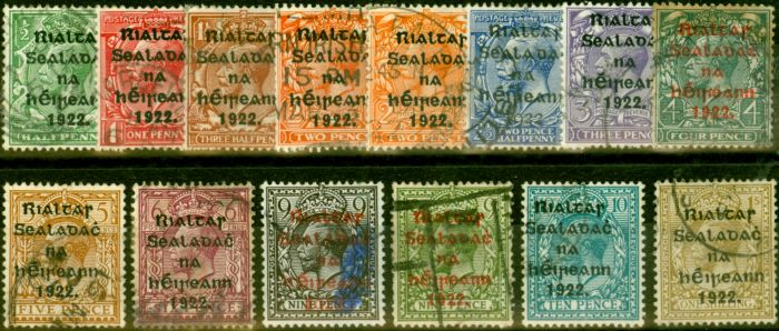 Rare Postage Stamp from Ireland 1922 Set of 14 SG30-43 Good to Fine Used