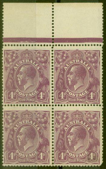 Valuable Postage Stamp from Australia 1921 4d Violet SG64 Fine MNH Block of 4