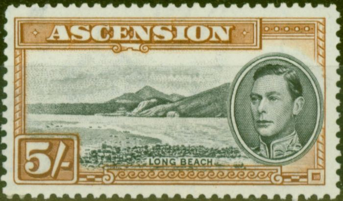 Collectible Postage Stamp from Ascension 1944 5s Black & Yellow-Brown SG46a P.13 V.F MNH
