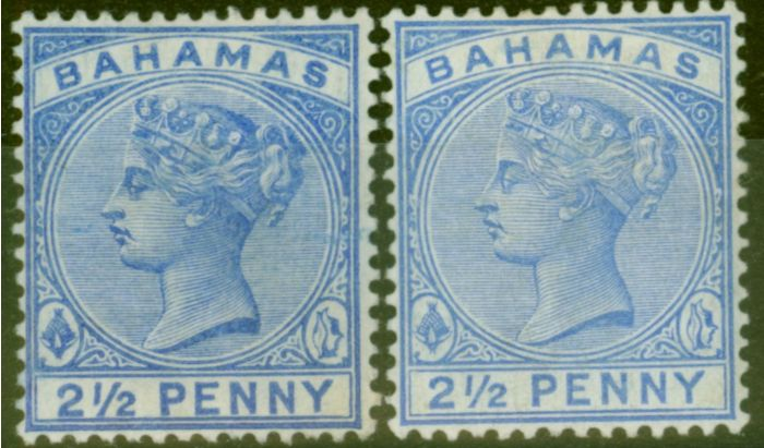 Old Postage Stamp from Bahamas 1884 2 1/2d Blue & 2 1/2d Ultramarine SG51 & 52 Fine Mtd Mint
