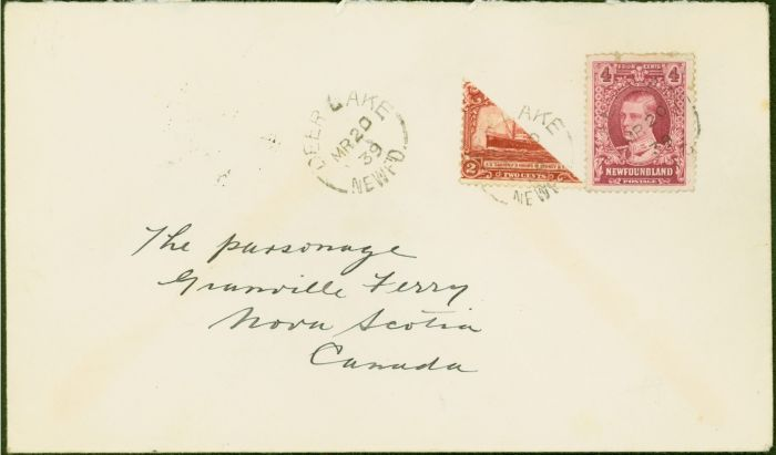 Collectible Postage Stamp from Newfoundland Cover From Deer Lake to Granville Ferry Bearing Bisected 2c SG165
