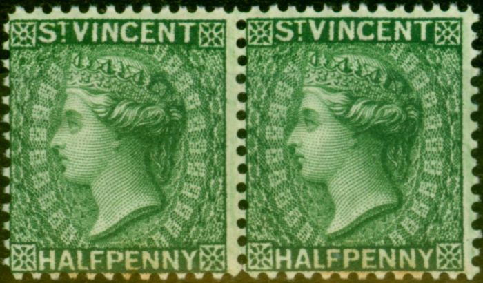 Valuable Postage Stamp from St Vincent 1885 1/2d Green SG47x Wmk Reversed Good MNH Pair