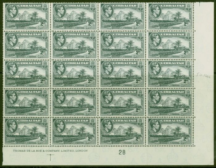 Collectible Postage Stamp from Gibraltar 1940 2d Grey SG124a P.13.5 V.F MNH Imprint Block of 20 Control 2B