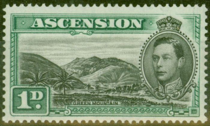 Collectible Postage Stamp from Ascension 1938 1d Black & Green SG39 Fine Lightly Mtd Mint