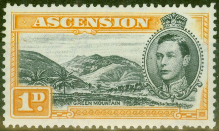 Valuable Postage Stamp from Ascension 1940 1d Black & Yellow-Orange SG39a V.F Very Lightly Mtd Mint
