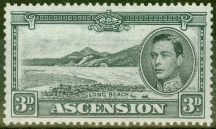Old Postage Stamp from Ascension 1940 3d Black & Grey SG42a V.F Very Lightly Mtd Mint
