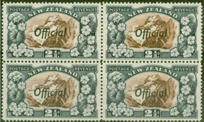 Valuable Postage Stamp from New Zealand 1938 2 1/2d Chocolate & Slate SG0124a P.14 V.F MNH Block of 4