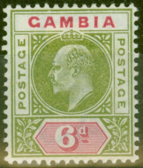 Collectible Postage Stamp from Gambia 1902 6d Pale Sage Green & Carmine SG51 Fine Lightly Mtd Mint