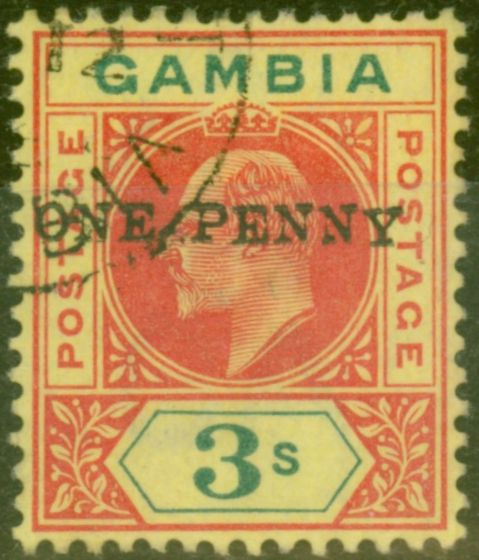 Rare Postage Stamp from Gambia 1906 1d on 3s Carmine & Green/Yellow SG70var Dropped Y & E R.8-4 Superb Used Only about 33 Possible