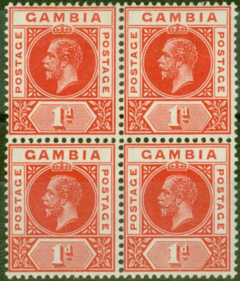 Valuable Postage Stamp from Gambia 1912 1d Red SG87var Break in Value Tablet in a V.F LMM & MNH Block of 4