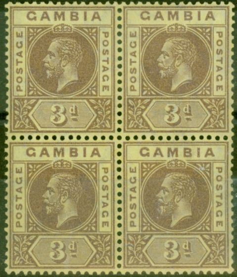 Rare Postage Stamp from Gambia 1917 3d on Lemon SG91a V.F VLMM & MNH Block of 4