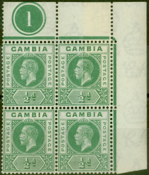 Rare Postage Stamp from Gambia 1921 1/2d Dull Green SG108Var Pre-Printing Paper Join in a V.F MNH Pl 1 Block of 4