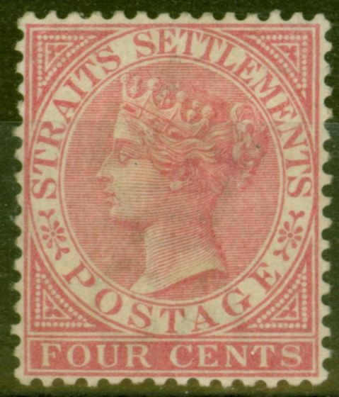 Old Postage Stamp from Straits Settlements 1882 4c Rose SG51 Fine Mtd Mint