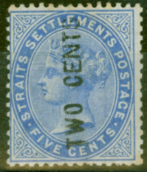 Collectible Postage Stamp from Straits Settlements 1884 2c on 5c Blue SG77 Type 20e E, N & S Wide Fine Lightly Mtd Mint