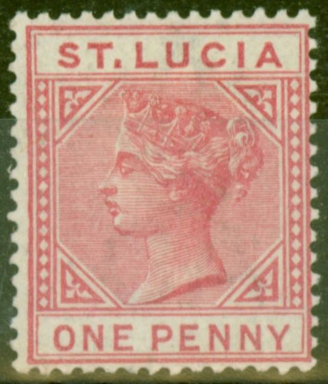 Rare Postage Stamp from St Lucia 1883 1d Carmine-Rose SG32 Die I Fresh Mtd Mint