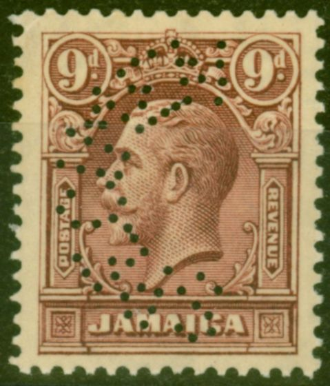 Valuable Postage Stamp from Jamaica 1929 9d Maroon Perf Specimen SG110s Lightly Mtd Mint