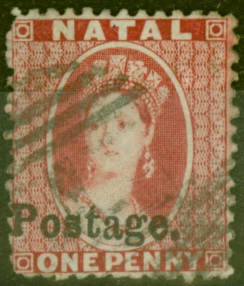Old Postage Stamp from Natal 1869 1d Brt Red SG39 Type 7c Fine Used