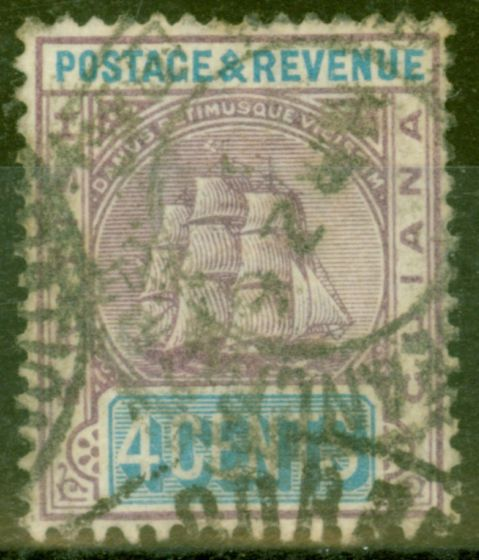 Collectible Postage Stamp from British Guiana 1905 4c Dull Purple & Ultramarine SG242 Good Used
